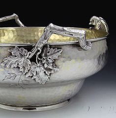 Detail of Whiting sterling centerpiece bowl with applied bird and twig handles (Britannia Silver)