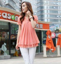 Latest Short Sleeves Lace Large Size  Blouse