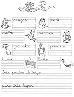 Atividades Aprender Escrever com Letra Cursiva - Alfabetização Infantil - Atividades Infantil 10 Pre K Activities, Kids English, Home Schooling, Public School, Handwriting, Homeschool, Bullet Journal, Education, Blog