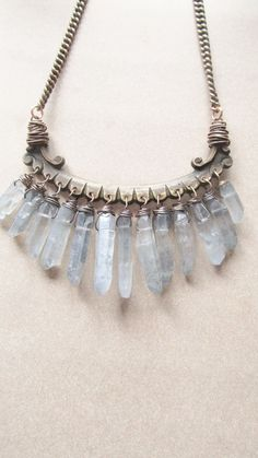 Raw Quartz Bib Necklace Wire Wrap Crystal Points Rustic Jewelry Necklace…