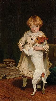 Charles Burton Barber – English) - little girl with Jack Russell Terrier Jack Russell Terriers, Jack Russells, Smooth Fox Terriers, Dogs And Kids, Vintage Dog, Victorian Art, Fine Art, Art Plastique, Animal Paintings