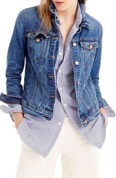 Shop Now - >  https://api.shopstyle.com/action/apiVisitRetailer?id=635737051&pid=uid6996-25233114-59 Petite Women's J.crew Denim Jacket  ...
