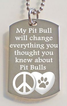 Engraved Love about Pit Bulls Dog Tag by PersonalizedMetals