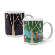 Woodlands Morph Mug - Add your favorite hot tea to this heat-sensitive mug and watch the dark forest come to life! Bright blue skies, green trees and happy woodland animals come out to play. Makes a fun and unique gift.