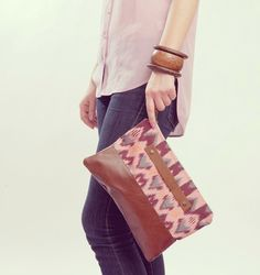 PASTEL CLUTCH. Brown Leather Clutch. Wrist Strap by gracedesign, $78.00