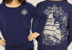 Women's Pirate Ship Shirt Tall ship Raglan by banyantreeclothing, $30.00