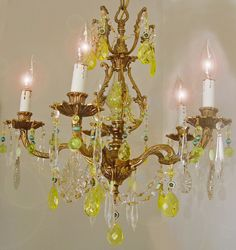 "Vintage URANIUM Yellow VASELINE Crystal Bronze CHANDELIER! 18""x 21"" Turquoise Blue Uranium Beads ~ with a Black Light Crystals  Glow Green!"