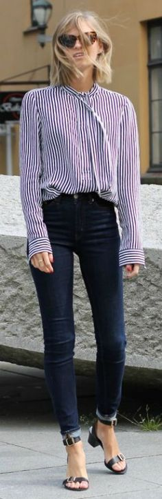 Strong blouse   dark jeans | fall office outfit idea