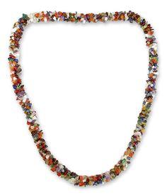 Long Beaded Multigem Necklace - Rainbow | NOVICA