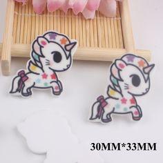 50pcs/lot 30*33MM Kawaii Cartoon Unicorn Flat Back Resins For Hair Bow Accessories Horse Planar Resin DIY Craft Decoration FR052