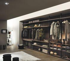 Modular walk-in wardrobe / corner / in wood / glass HANGAR  LEMA Home
