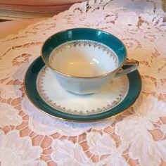 Limoges tea cup and saucer by VintageSowles on Etsy