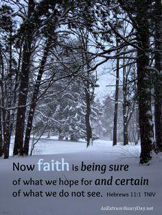 Snowy scene ::  Faith verse - Hebrews 11:1  |  AnExtraordinaryDay.net