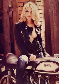 For your Friday viewing pleasure, here's a beautiful girl in a leather motorcycle jacket astride a Norvin motorcyle -- a combination of a Vincent engine and a Norton frame.