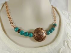 Turquoise Necklace Copper & Turquoise by GemstonesOnMyMind on Etsy, $30.00