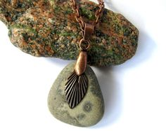 River Rock Pendant Copper Charm Taupe Pewter Eco by Hendywood, $20.00