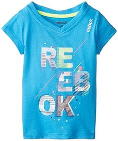 Reebok Little Girls Stack Texture VNeck Graphic Tee Malibu Blue 6X * Check this awesome product by going to the link at the image.Note:It is affiliate link to Amazon.
