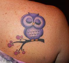 Purple owl tattoo