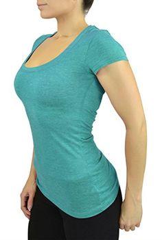 Women's New Heather Scoop Neck Short Sleeve Basic Stretch... https://www.amazon.com/dp/B00XW8TNUU/ref=cm_sw_r_pi_dp_.CfwxbFXCH6CQ