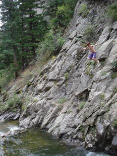 Cliff-jumping off of Canyon Road (Boulder, CO).