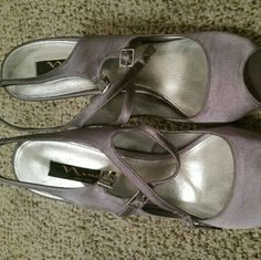 Nina Grey Buckle Sandals Oscar BRAND NEW! These have never been worn, I actually tried on and didn't like how they fit. In perfect condition with original box. Very pretty and they catch the light very well. The tops of the sandals are suede. nina Shoes Heels