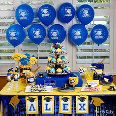 Why not start with your school colors? Party City shows you how! We will also customize our graduation-themed party games with your school colors as well! Graduation Party Desserts, Graduation Party Planning, College Graduation Parties, Graduation Celebration, Graduation Decorations, Graduation Party Decor, Grad Parties, Graduation Ideas, Graduation 2015