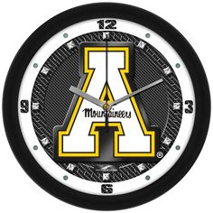 NCAA Appalachian State Mountaineers-Carbon Fiber Textured Wall Clock