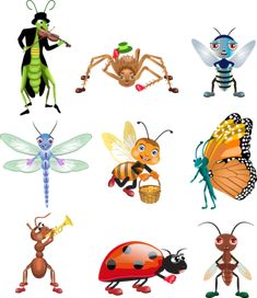 Cartoon image of insects vector Eps Vector, Vector Graphics, Vector Free, Cartoon Sketches, Animal Sketches, Cartoon Design, Cartoon Images, Fruit Coloring Pages, Bug Art