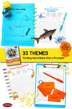 These word bank story prompts may be just what you need to encourage more creative writing. With engaging elements such as exotic settings, surprise plot twists, and fun story details, each unique printable writing prompt page will motivate even the most reluctant writer!  PDF download format for grades 2 and up