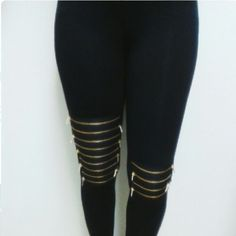 Zipper Leggings Fab New Style for 2016! Aprils Spirit inspired by Brandy Melville Black Leggings Gold Zipper Detailed  Back Flap Pocket Sizes available :  (2) size small (2) size medium    95% cotton 5% spandex   Condition: Brand New: never worn. Ships next day Pants Leggings