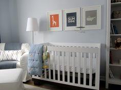 orange, navy, and grey... white mats & frames.
