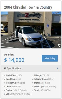 Tyler, Texas: http://inventory.access2mobility.com/inventory/ Access 2 Mobility has several different wheelchair accessible vehicles to choose from, come by & see our wheelchair accessible trucks, MV-1s, & vans.