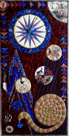 'Finding My Way Home' by Kim Brunner / Kimmyquilt.com Small Steampunk art piece done for a special exhibit. Embellished with Derwent Inktense pencils, textile medium, gears, gadgets, beads, feathers.