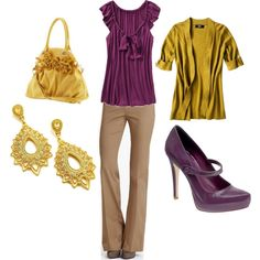 pants.....shirt  is a maybe.... shoes probably would make me too tall! ....earrings i might do....purse idk!.... yellow cardigan...could do that! yay for the purple and gold tho! :D Date night with the hubs for sure!