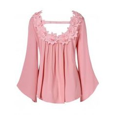 Long Sleeve Floral Applique Hollow Out Blouse Lace Tops, Chiffon Tops, Blouse Dress, Types Of Sleeves, Plus Size Fashion, Clothes For Women, Womens Fashion, Long Sleeve, Outfits
