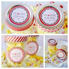 My Pops For You. Ideas for easy Valentines Day party favors + FREE printable party tags! Valentines Day Party, Valentine Day Love, Valentine Gifts, Valentine Ideas, Party Favor Tags, Party Favors, Popcorn Favors, Party Printables, Free Printables