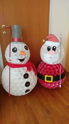 Best 12 Xmas craft ideas – DIY snowman and santa claus made of plastic cups. You can use My Measures App by TOP APP to write down dimensions. Diy Snowman Decorations, Snowman Crafts, Christmas Decorations, Christmas Ornaments, Decoration Crafts, Christmas Christmas, Cup Crafts, Christmas Projects, Holiday Crafts