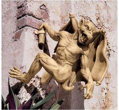 Gaston, the Climbing Gothic Gargoyle Statue: Large