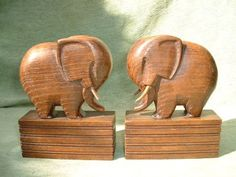 Wood Carving Elephant Bookends 8