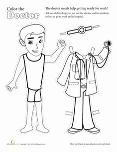 FREE! Career paper dolls and coloring pages. Perfect for