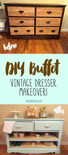 DIY Buffet - Vintage Dresser Makeover. From yuck to pretty! -TablerPartyofTwo.com