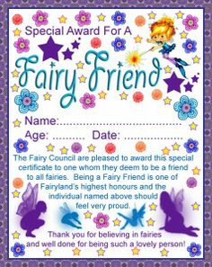 free printable Fairy Friend Certificate