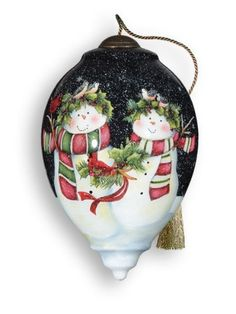 """Ne'Qwa """"Snow Happy Together"""" Hand-Painted Blown Glass Christmas Ornament"""