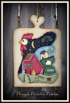 Chicken Saltbox Wood Plaque Home Decor Wall Decoration by Primgal