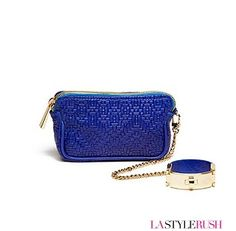 """Check out this Victoria Wristlet bag by CC Sky in the fab blue. This wristlet purse features a detachable cuff that can be work on its own as a bracelet when removed. This fabulous handbag works great for a night out on the town or for those days when you don't want to carry around a huge purse. If you love the style of this bag, you will love every piece from CC Skye! * Width: 7"""" x Height: 4"""" x Depth: 2"""" x Chain Length: 15"""" * Bracelet Size: 8"""" Long / 1"""" Wide * 18K gold plated hardware"""