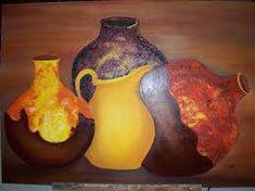 Resultado de imagen para pinturas de vasijas y cacharros Oeuvre D'art, Les Oeuvres, Illustrations, Paint Flowers, Pastel, Pottery, Chile, Aquarium, Photos