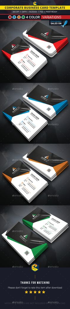 Abstract Corporate Business Card Template PSD #visitcard #design Download: http://graphicriver.net/item/abstract-corporate-business-card/13498680?ref=ksioks