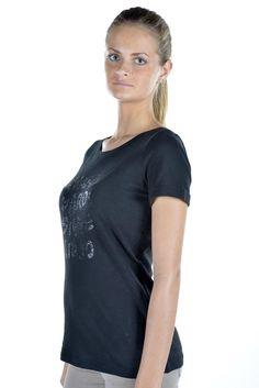 2567a8343106 Liu Jo T-shirt donna manica corta in cotone con stampa nero con paillettes.