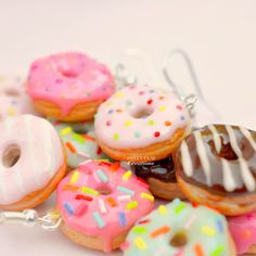 Donuts Earrings Miniature Food Jewelry Polymer Clay Handmade by Sweet Clay Creations