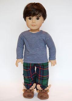 American Boy doll pajamas with slippers  plaid by EverydayDollwear